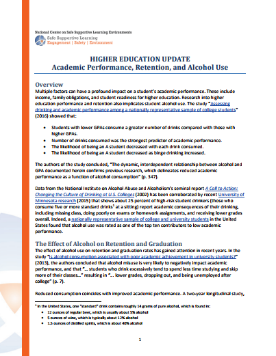 Higher Education Update: Academic Performance, Retention, and Alcohol Use