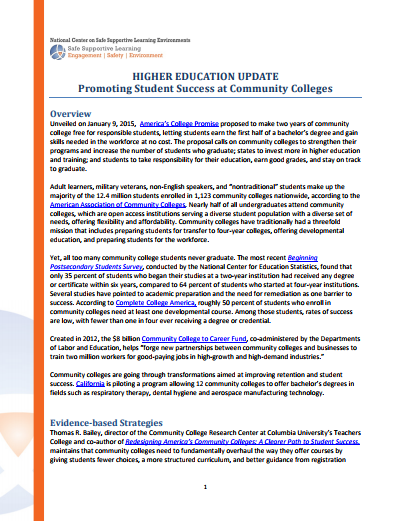 Higher Education Update: Promoting Student Success at Community Colleges