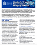 Graphic of a virus particle including emergency shutdown information