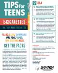 Graphic of a vape with precautionary information for teens.