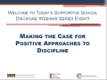 Cover page for the Supportive School Discipline Webinar Series landing page.