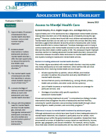 Adolescent Health Highlight: Access to Mental Health Care cover page