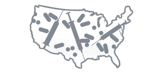 united states map filled with needles and pills