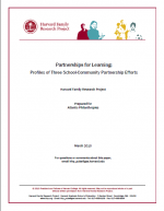 Partnerships for Learning: Profiles of Three School-Community Partnership Efforts cover page