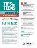 Graphic of marijuana with precautionary information for teens.