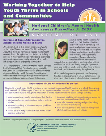 Working Together to Help Youth Thrive in Schools and Communities: Systems of Care report cover